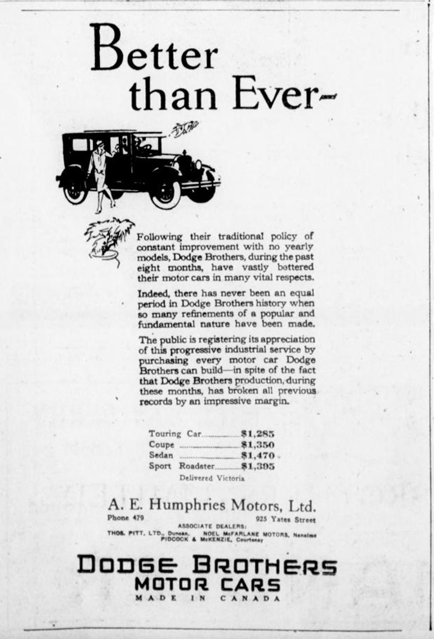 1926 advertisement for Dodge Brothers Motor Cars, showing the Vancouver Island Dodge dealers, including Thomas Pitt, Duncan (photo by Temple Lodge No. 33 Historian)