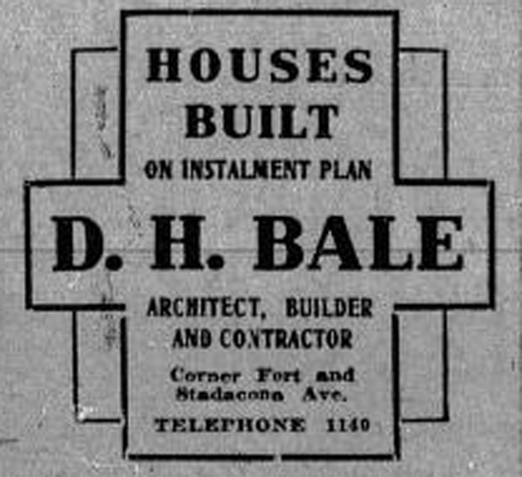 "1913 advertisement for Davis H. Bale, ""Architect, Builder & Contractor"" (Temple Lodge No. 33 Historian)"