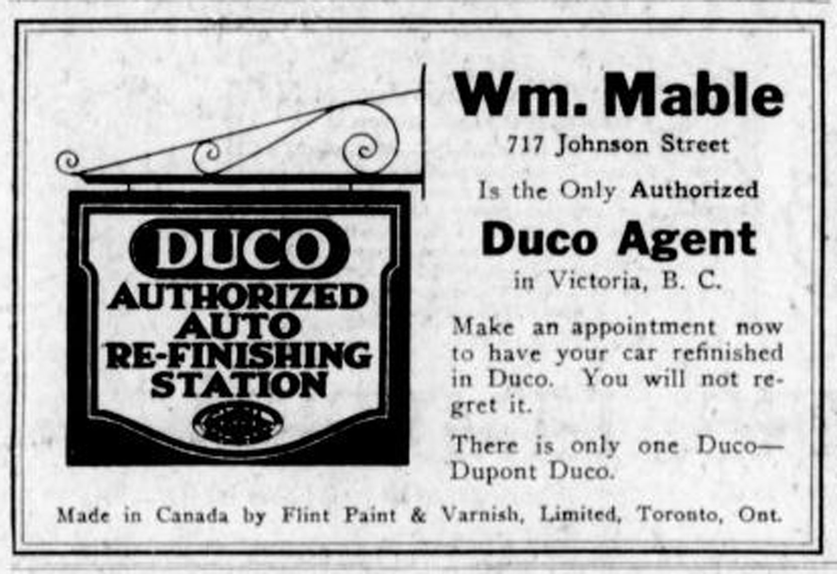 1926 advertisement for William Mable, 717 Johnson Street, Victoria, BC. William Mable was a member of Victoria-Columbia Lodge No. 1 in Victoria. (Temple Lodge No. 33 Historian)