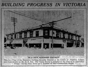 1912 Victoria newspaper report about 1050-1058 Pandora Avenue / 1508-1516 Cooks Street, built for David Russell Ker by architect William Ridgway Wilson