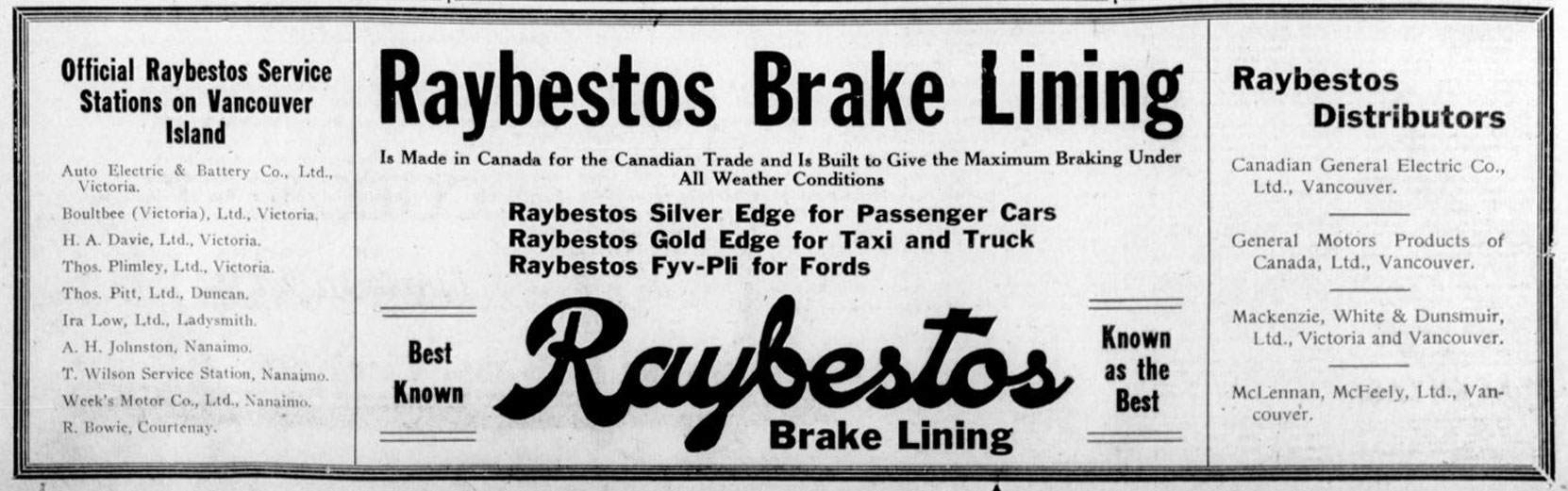 1927 advertisement for Vancouver Island dealers of Raybestos Brake Linings. Thomas Pitt in Duncan, Ira Lowe in Ladysmith and Thomas Plimley in Victoria were all Freemasons. (Temple Lodge No. 33 Historian)