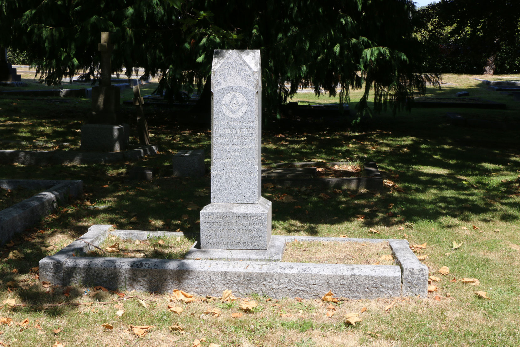 Gilbert Hector Shaw Sproat grave, Ross Bay Cemetery, Victoria, BC (photo: Temple Lodge No. 33 Historian)