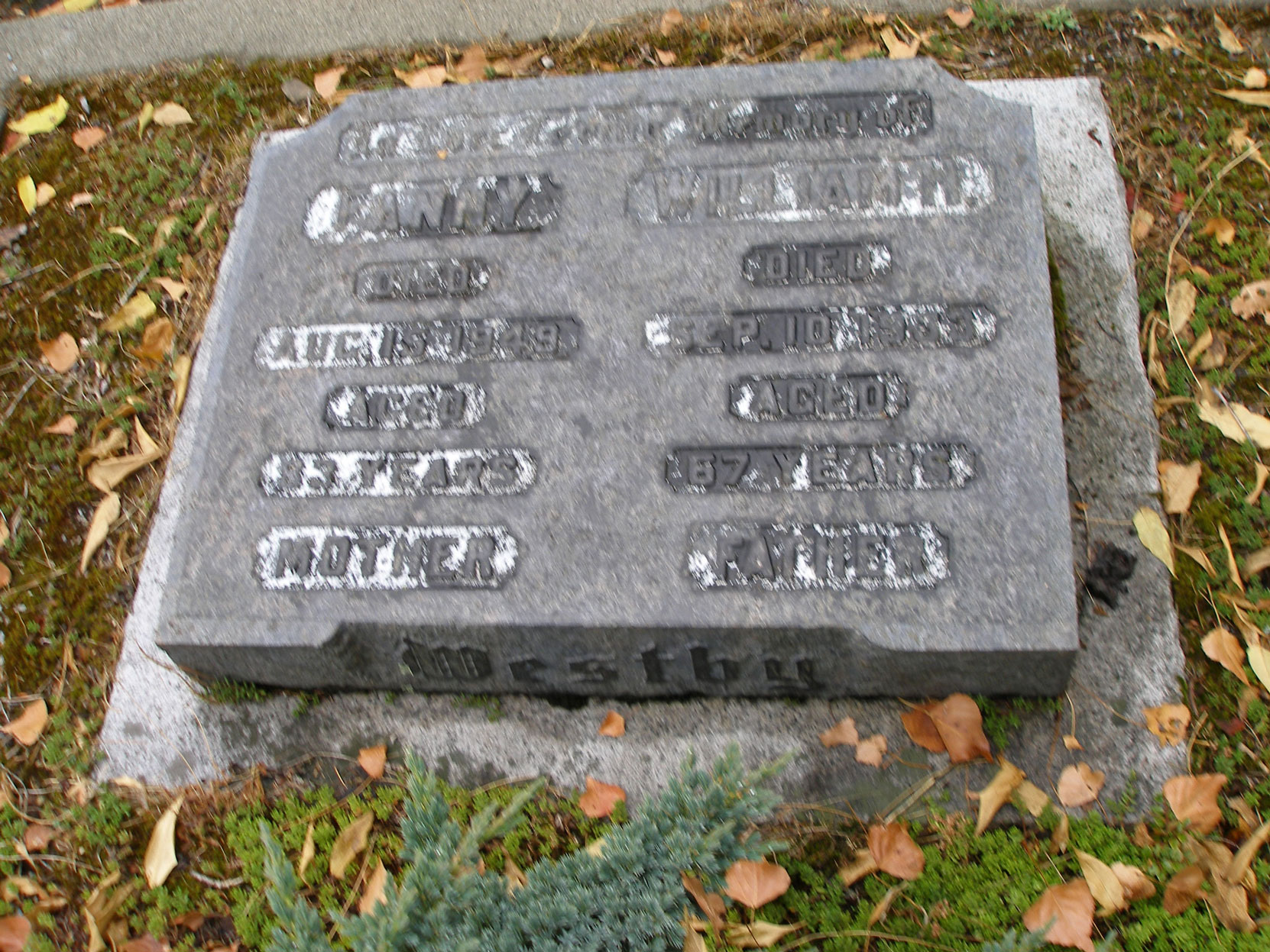 William Henry Westby grave, St. Luke's Anglican Cemetery, Saanich, B.C. (photo by Temple Lodge No. 33 Historian)