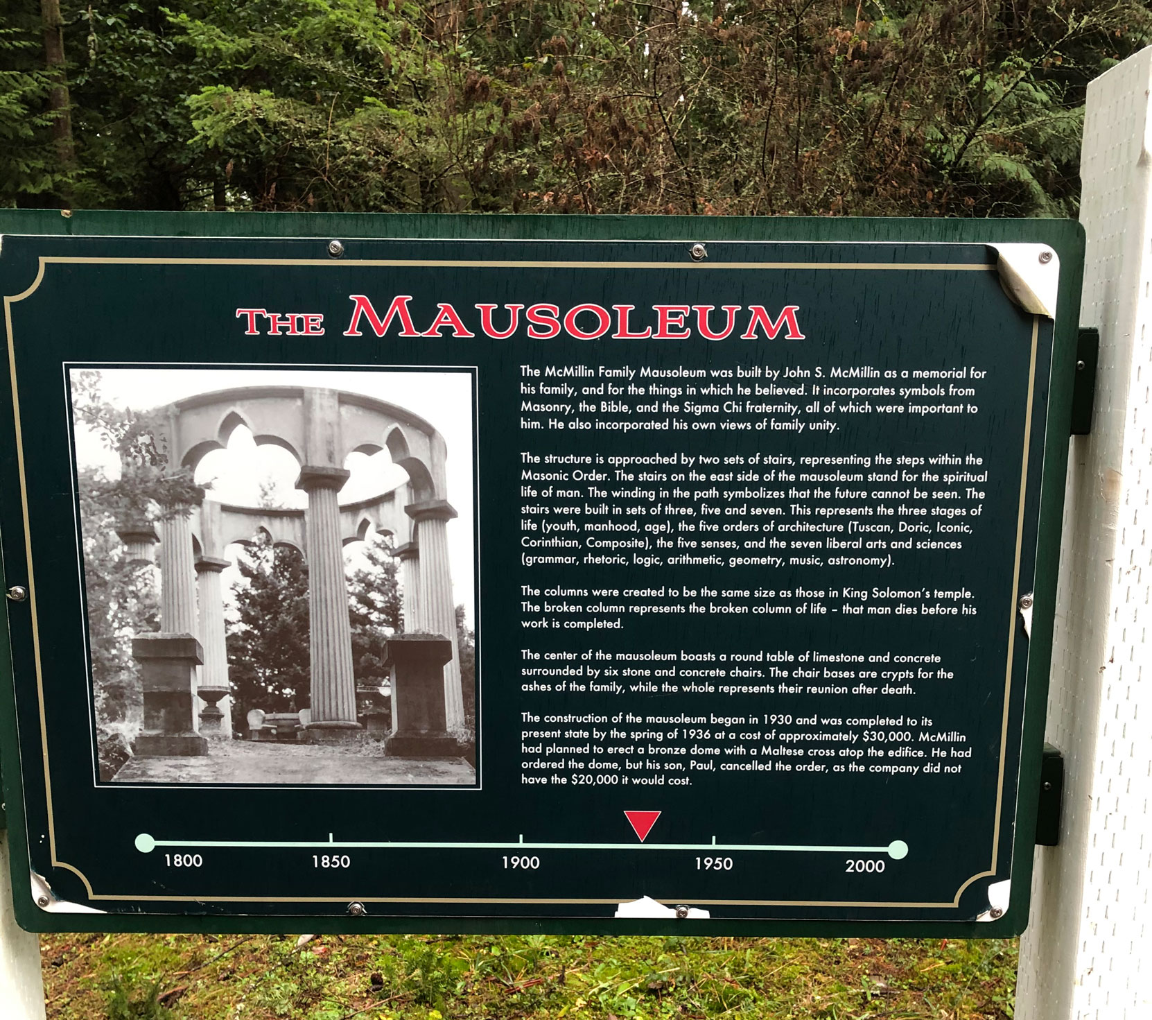 McMillin Mausoleum information plaque, Roche Harbor, Washington (photo by Mike Gains, V&Q, No.2)