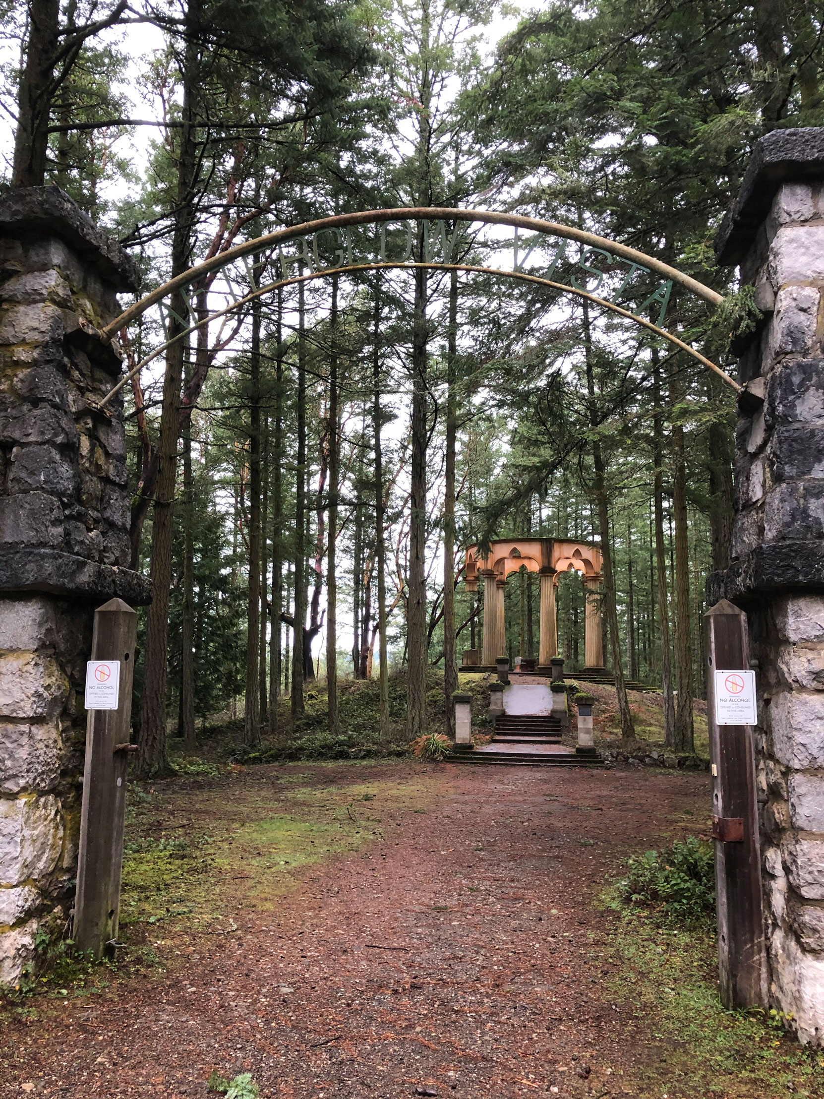 McMillin Mausoleum entrance gate, Roche Harbor, Washington (photo by Mike Gains, V&Q, No.2)