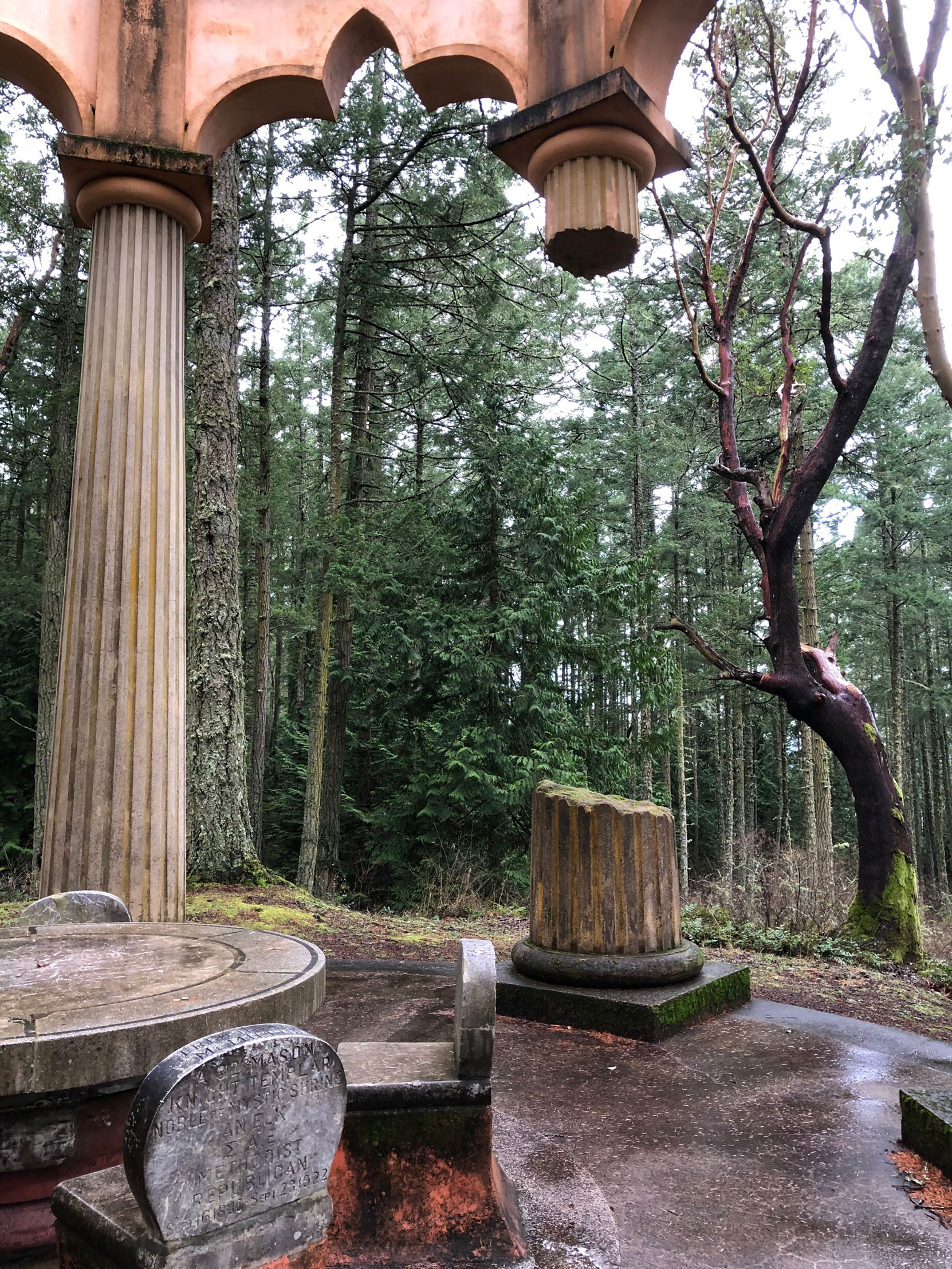Broken Column at the McMillin Mausoleum, Roche Harbor, Washington. (photo by Mike Gains, V&Q, No.2)