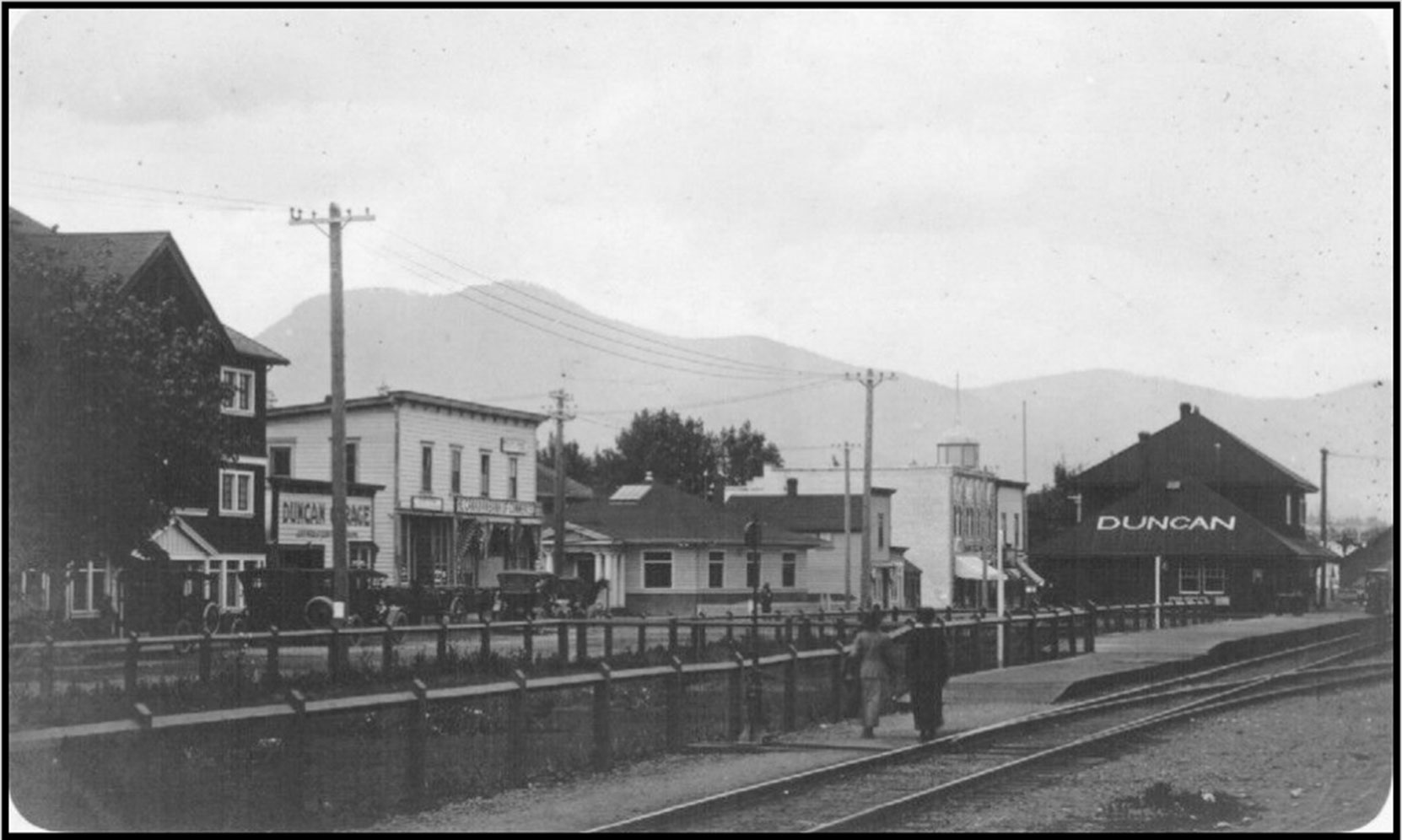 Front Street (now Canada Avenue) in downtown Duncan looking northwest, circa 1912-1913. The Duncan Masonic Temple is in the center right.