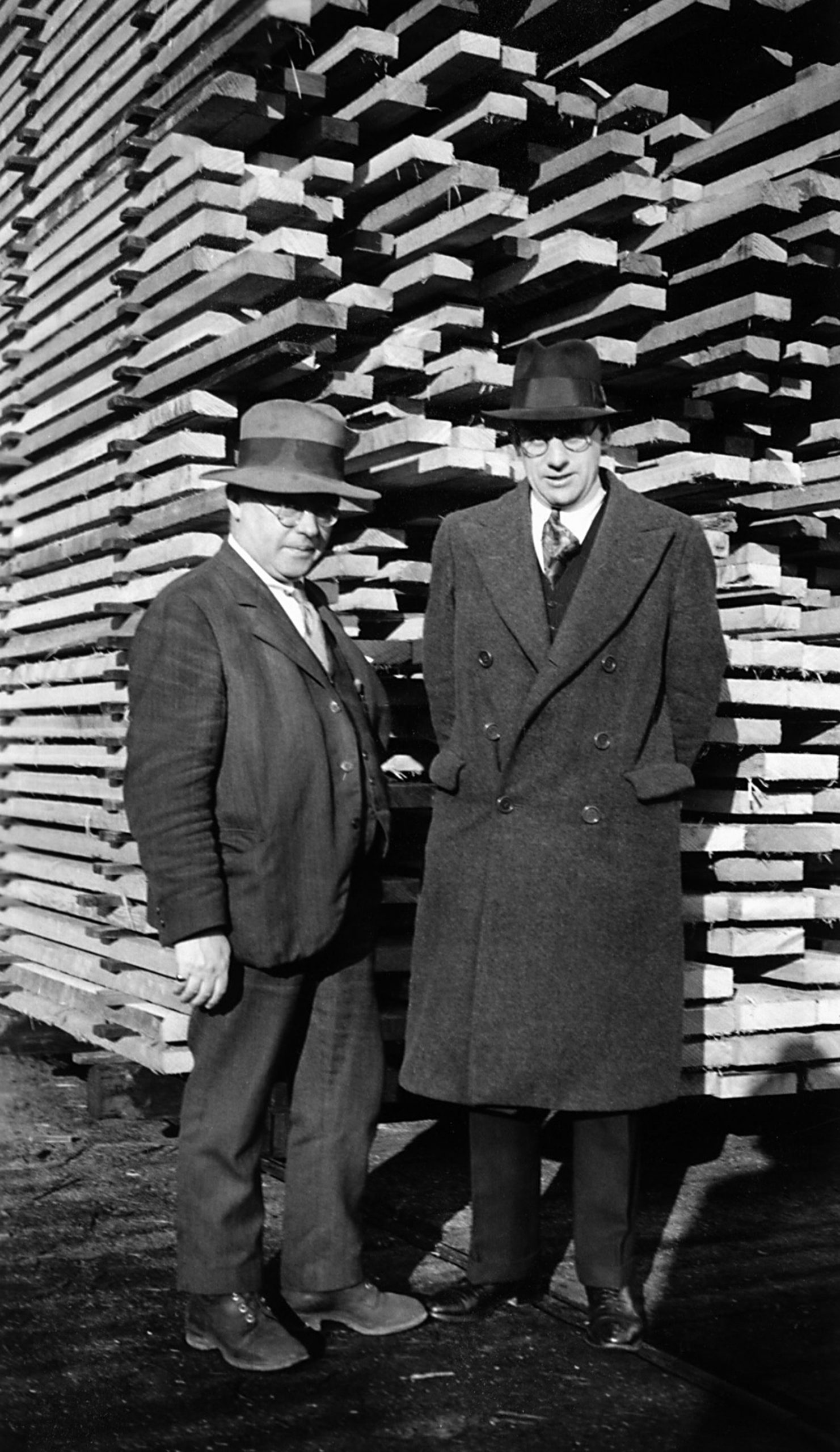 James Dickson Pollock (left) and Adam Dickson (right) at Hillcrest Lumber, Duncan, circa 1930 (photo courtesy of Bruce Pollock. Used with permission)