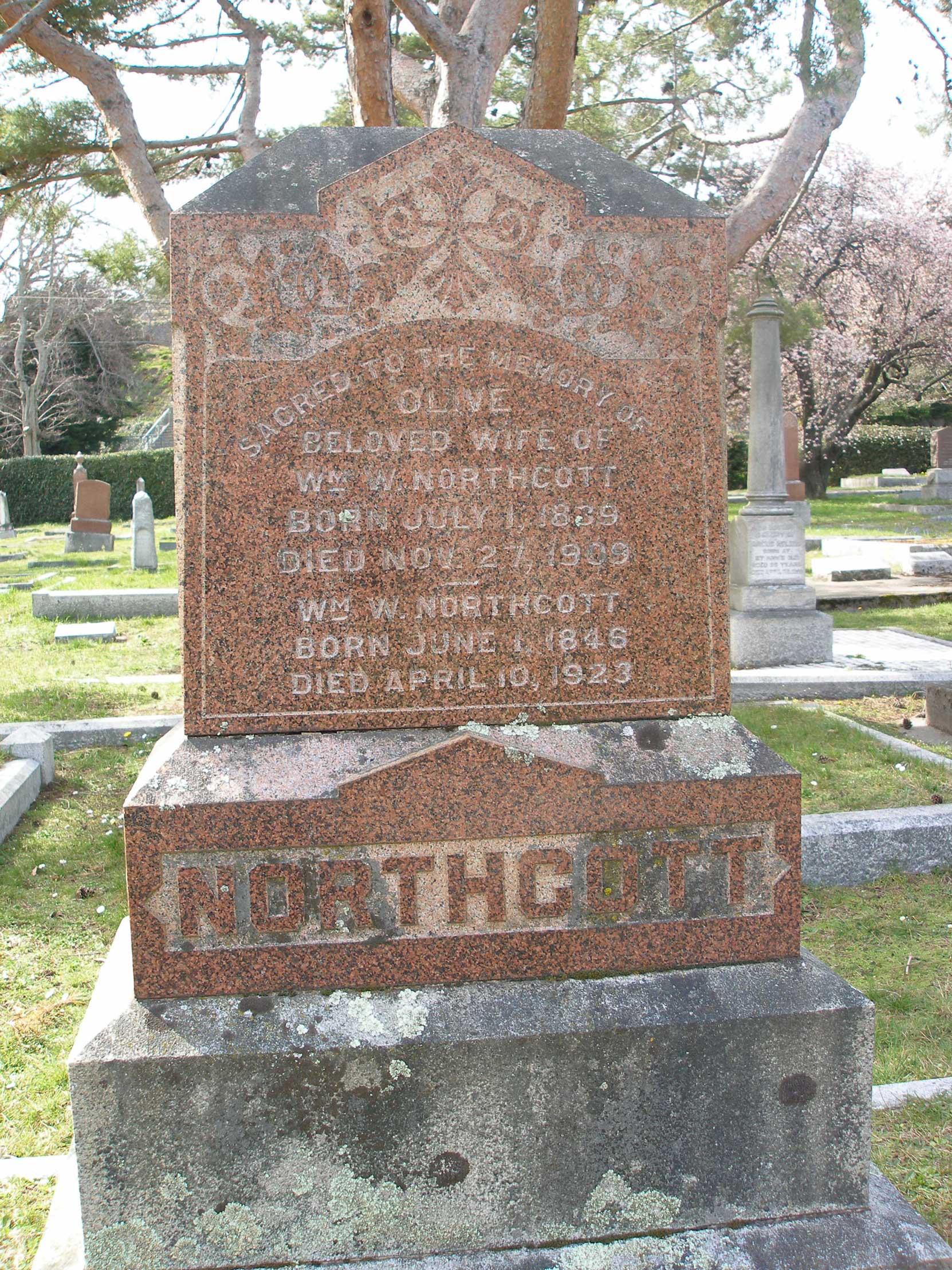 William Walter Northcott, grave inscription, Ross Bay Cemetery, Victoria, B.C. (photo: Temple Lodge No. 33 Historian)