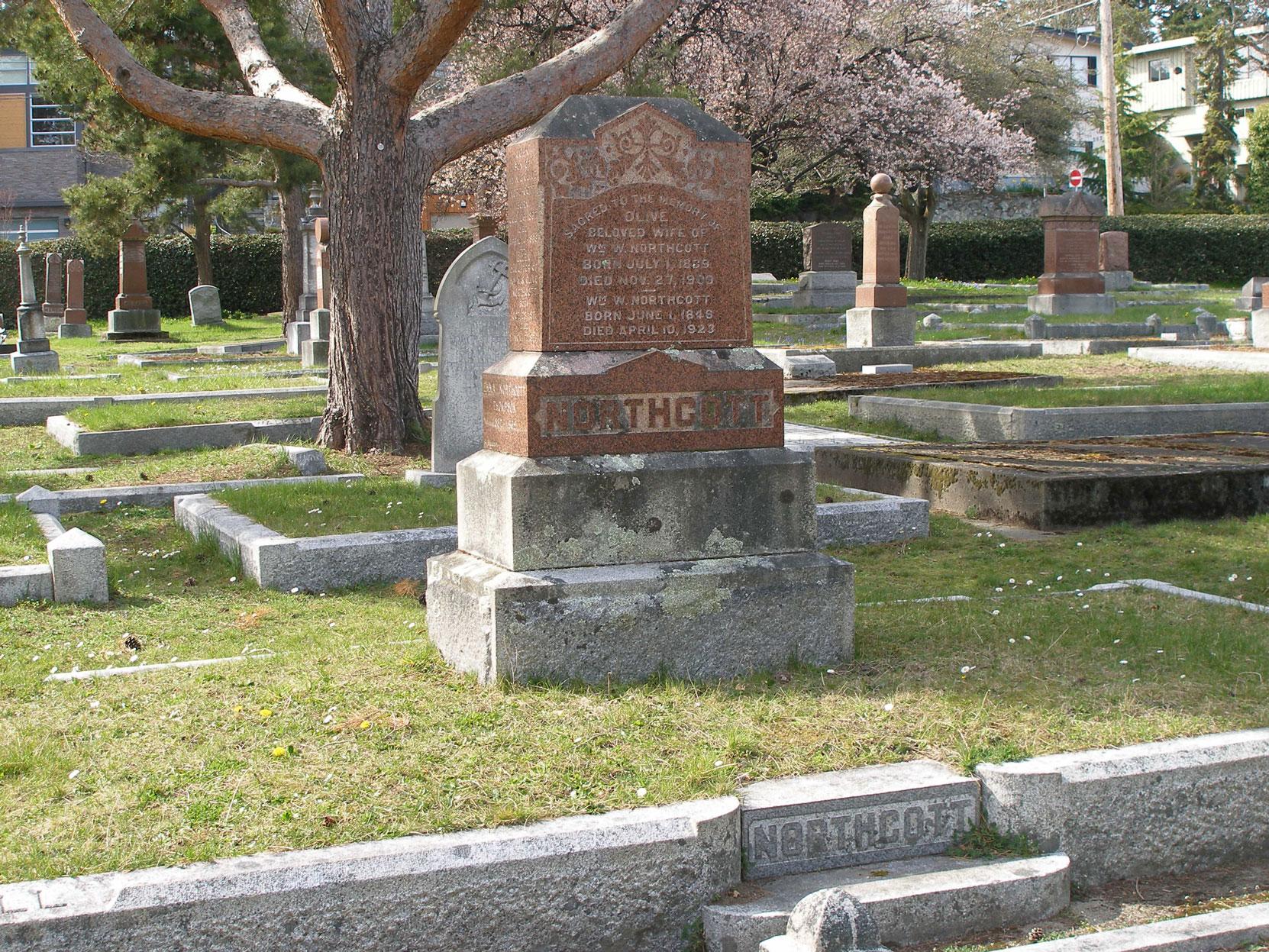William Walter Northcott, family grave, Ross Bay Cemetery, Victoria, B.C. (photo: Temple Lodge No. 33 Historian)