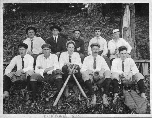 Duncan baseball team, 1905. Back row (L to R) W. Gatt, Alec Gatt, Hope Herd, Jess Gidley (his father William Gidley was a Charter Member of Temple Lodge No. 33), Andrew Peterson. Front Row (L t R) David Alexander (his father David Alexander was a member of Temple Lodge), Kenneth F. Duncan, Ormond T. Smythe, W.R.J. Smythe, Charles Grassie (photo courtesy of Larry Kier - private collection)
