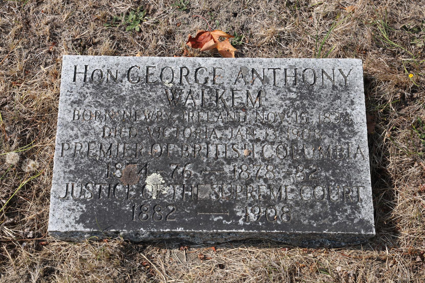 George Anthony Walkem gravestone, Ross Bay Cemetery, Victoria, BC (photo: Temple Lodge No. 33 Historian)