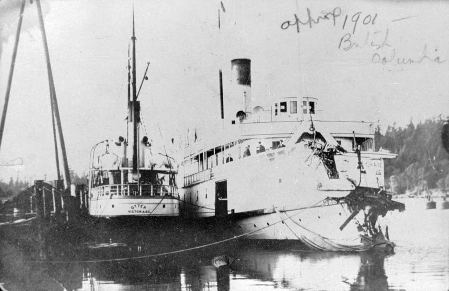 The SS Otter and the SS Charmer docked in Nanaimo, circa 1901. George Thomson Leitch was Chief Engineer on the Otter. (BC Archives photo C-07500)