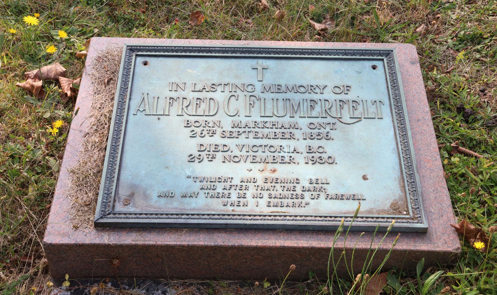 Alfred Cornelius Flumerfelt grave inscription, Ross Bay Cemetery, Victoria, BC (photo: Temple Lodge No. 33 Historian)