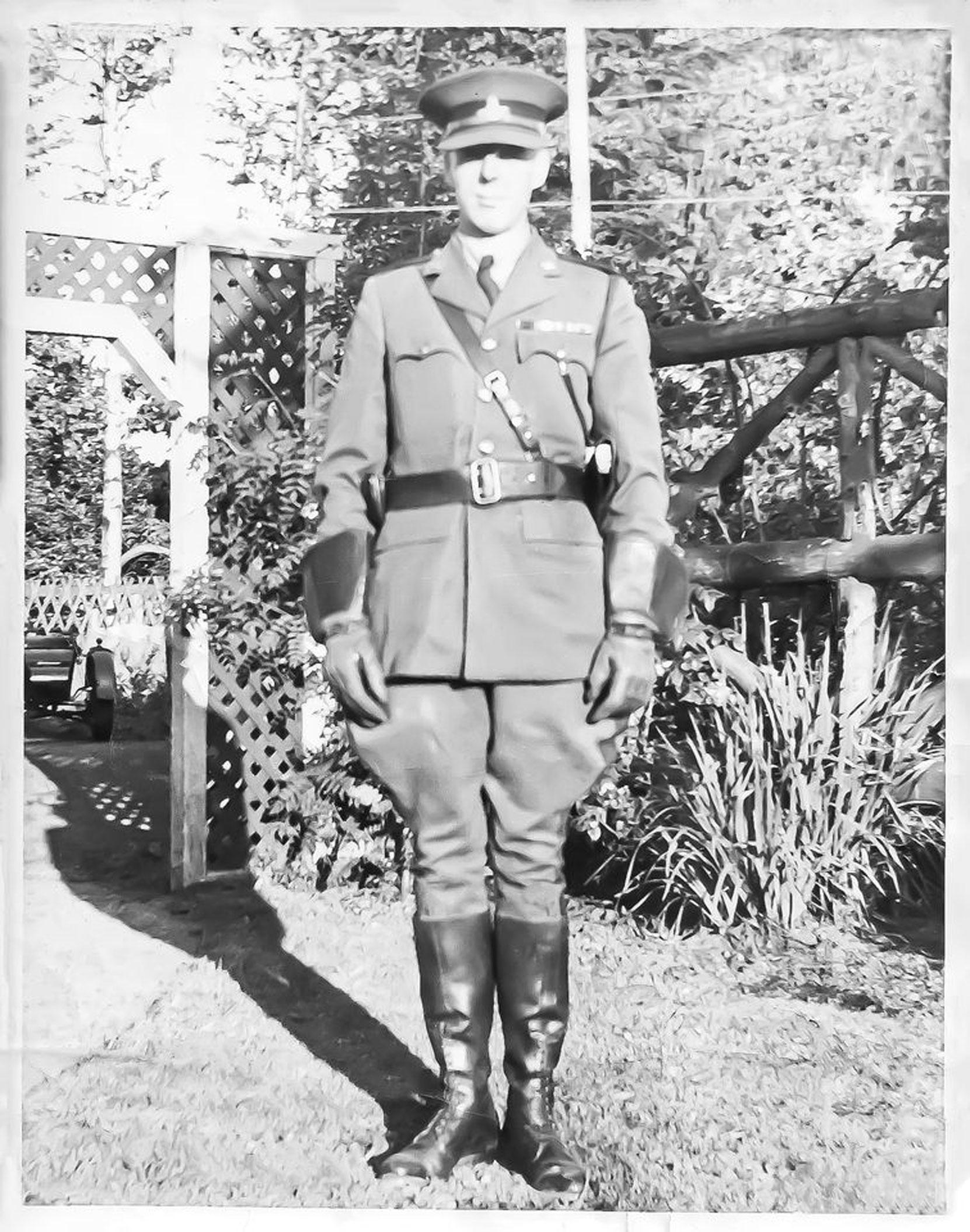 William Percy Aylward in B.C. Provincial Police uniform, Victoria, circa 1922. (Photo courtesy of Rick Aylward - used with permission)